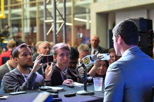 Auburn quarterback Jarrett Stidham answers questions during SEC football media day at the College Football Hall of Fame in Atlanta on July 19, 2018.