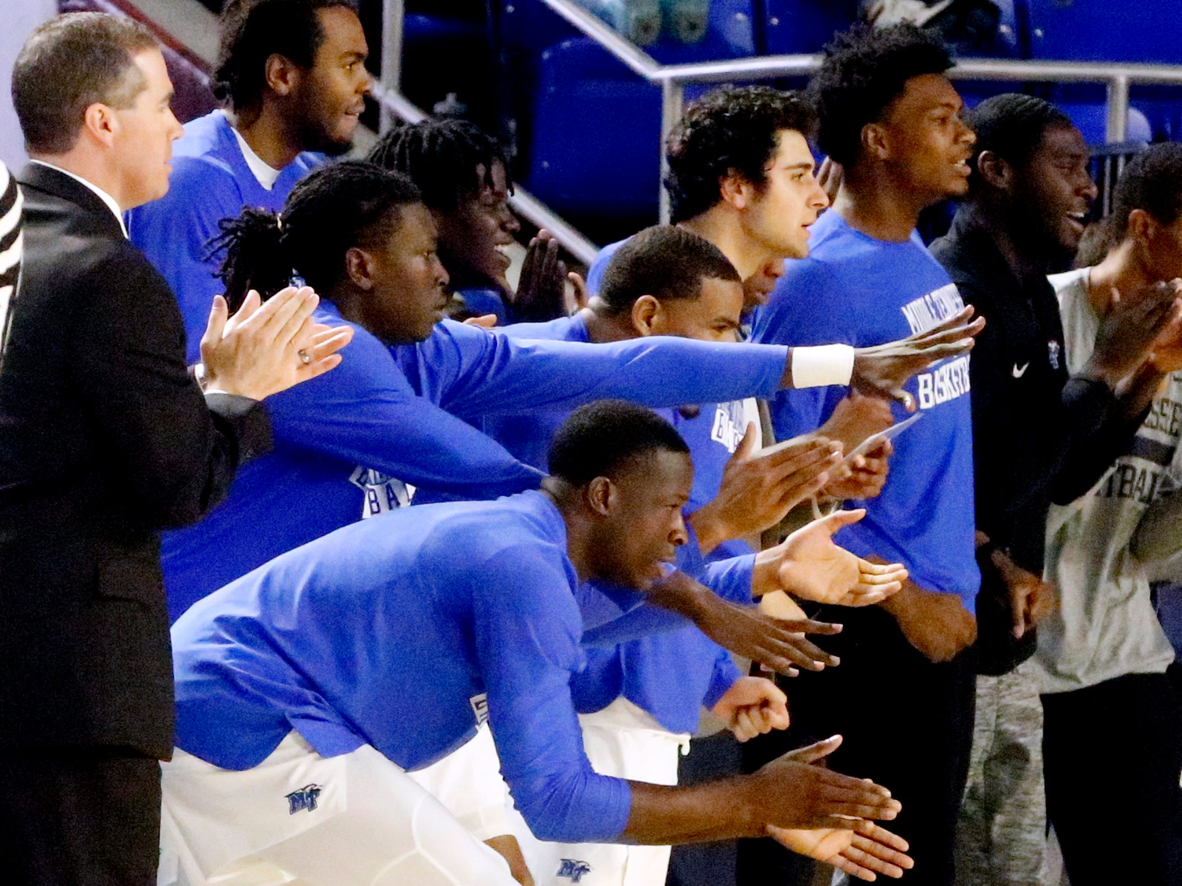 The MTSU bench cheers on their players after shooting a three point basket on Thursday Jan. 17, 2019, against UTSA.