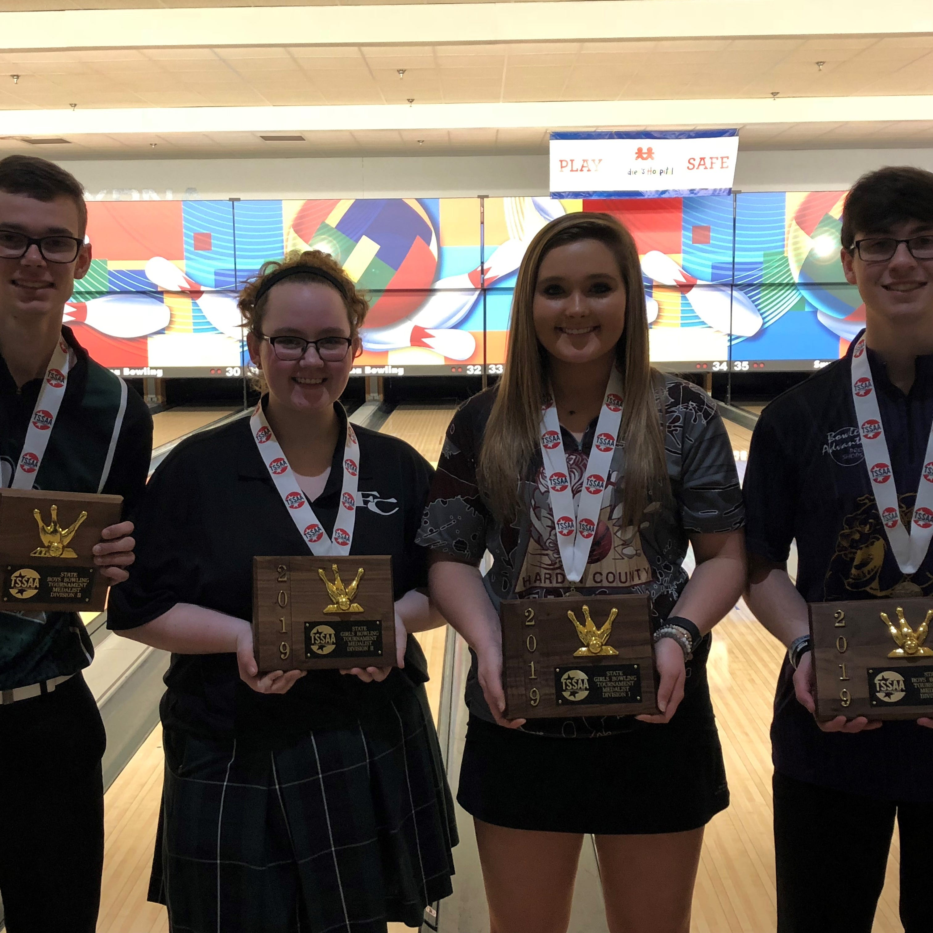 The four TSSAA state individual bowling state champions are (l-r) Friendship Christian's Dalton Karstens and Olivia Van Hooser, Hardin County's Faith Welch and Smyrna's Josh Meeke (DI).