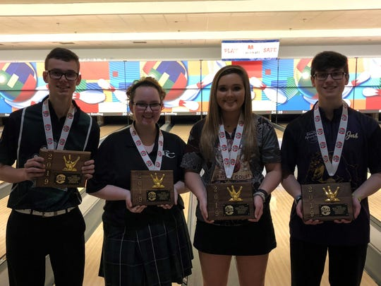 The four TSSAA state individual bowling state champions are (l-r) Friendship Christian's Dalton Karstens and Olivia Van Hooser, Hardin County's Faith Welch and Smyrna's Josh Meeke (DI). Photo by Cecil Joyce, DNJ