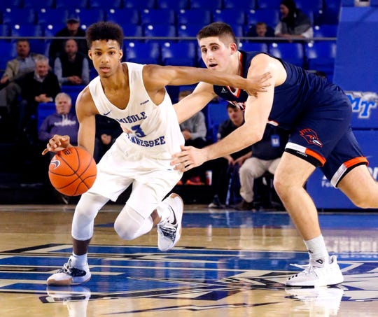 MTSU guard Donovan Sims is fouled by UTSA forward Byron Frohnen during the Blue Raiders' 89-86 win over the Roadrunners on Jan. 17.