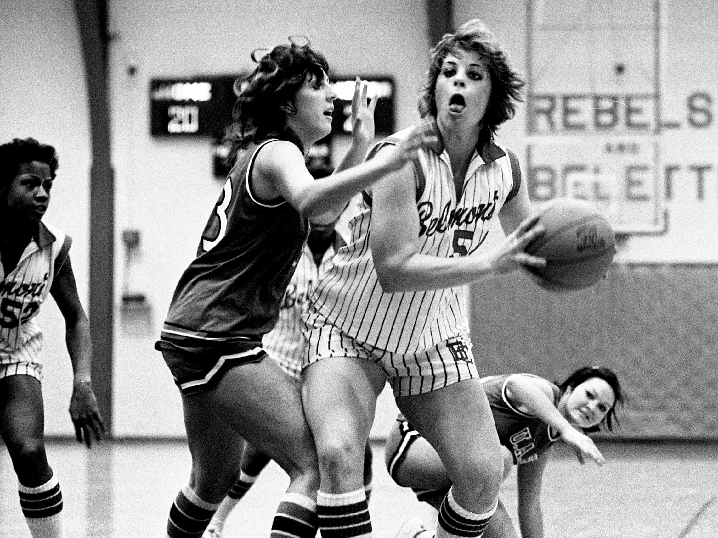 Belmont College center Cindy Morris, center, looks for an opening as two Alabama-Huntsville defenders apply pressure during the Rebelettes 71-59 victory at home Jan. 13, 1979. Morris, a sophomore, scored 30 points and pulled down 17 rebounds.