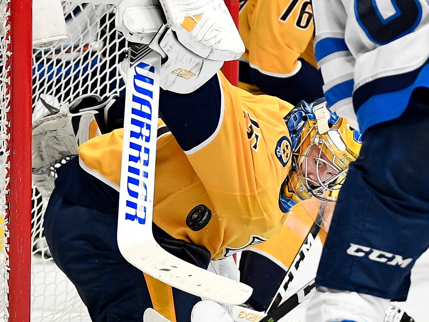 Nashville Predators goaltender Pekka Rinne (35) defends against Winnipeg Jets left wing Kyle Connor (81) during the second period at Bridgestone Arena in Nashville, Tenn., Thursday, Jan. 17, 2019.