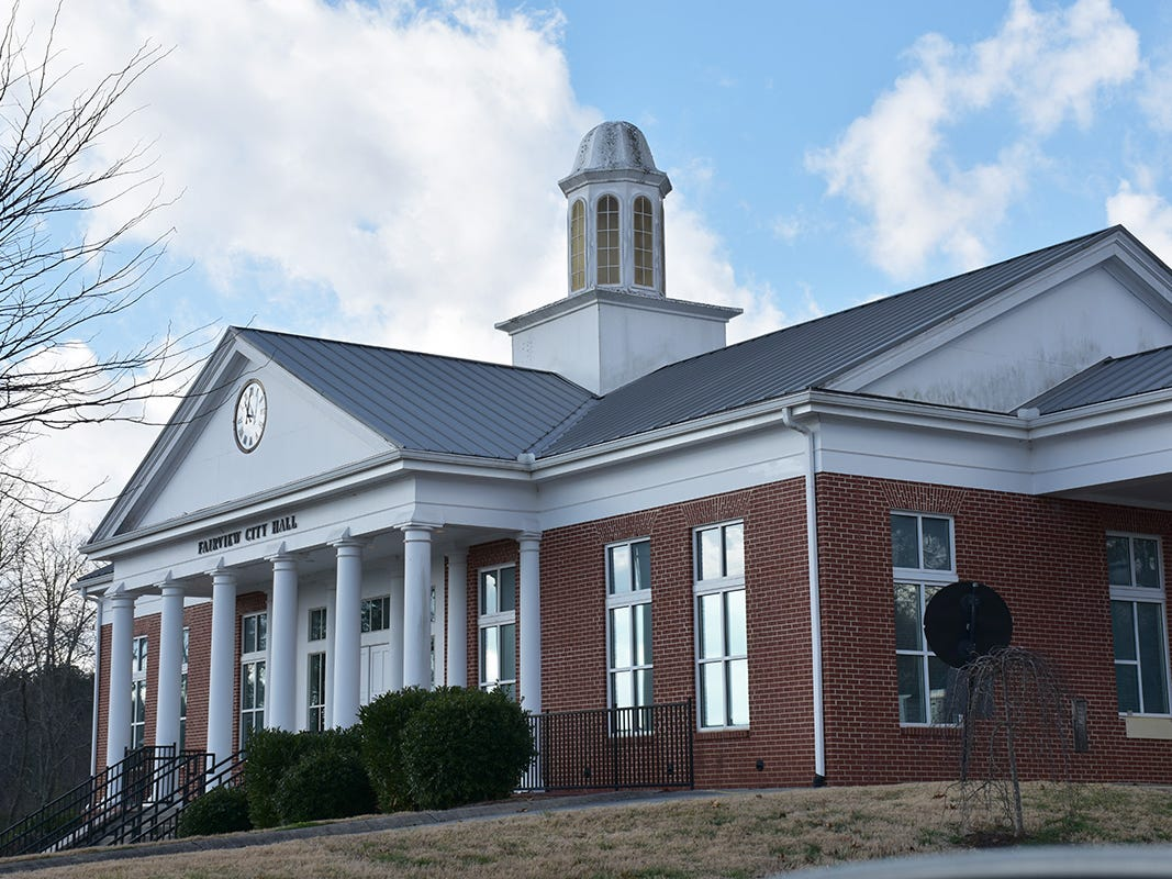A closer view of Fairview City Hall reveals exterior issues with the aging building.