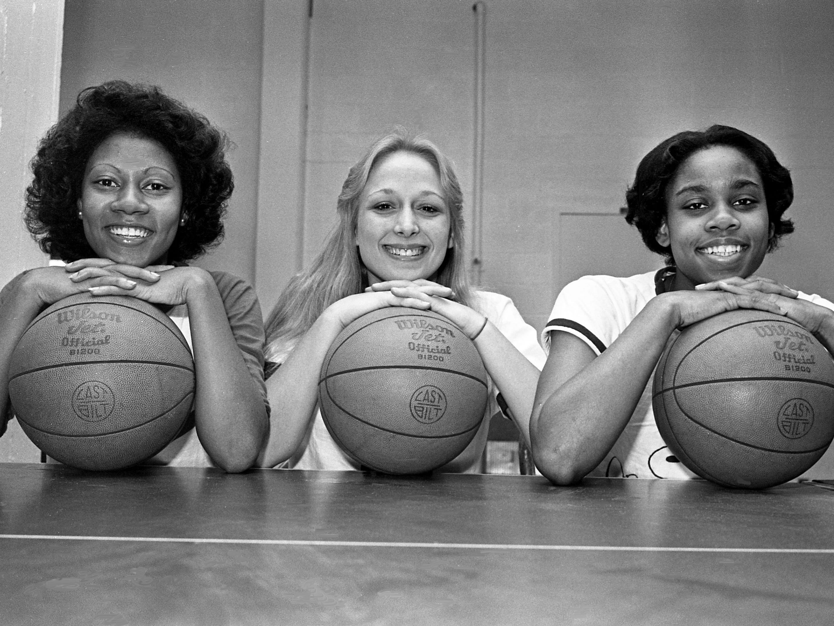 Freshman guard Cathy Bender, left, of Mt. Juliet, has returned from an injury to take her place in line on Jan. 18, 1979,  with Vanderbilt's other standouts, Ann Morrow and Teresa Lawrence. Bender, who has been sidelined with an internal bruise, returned to practice.