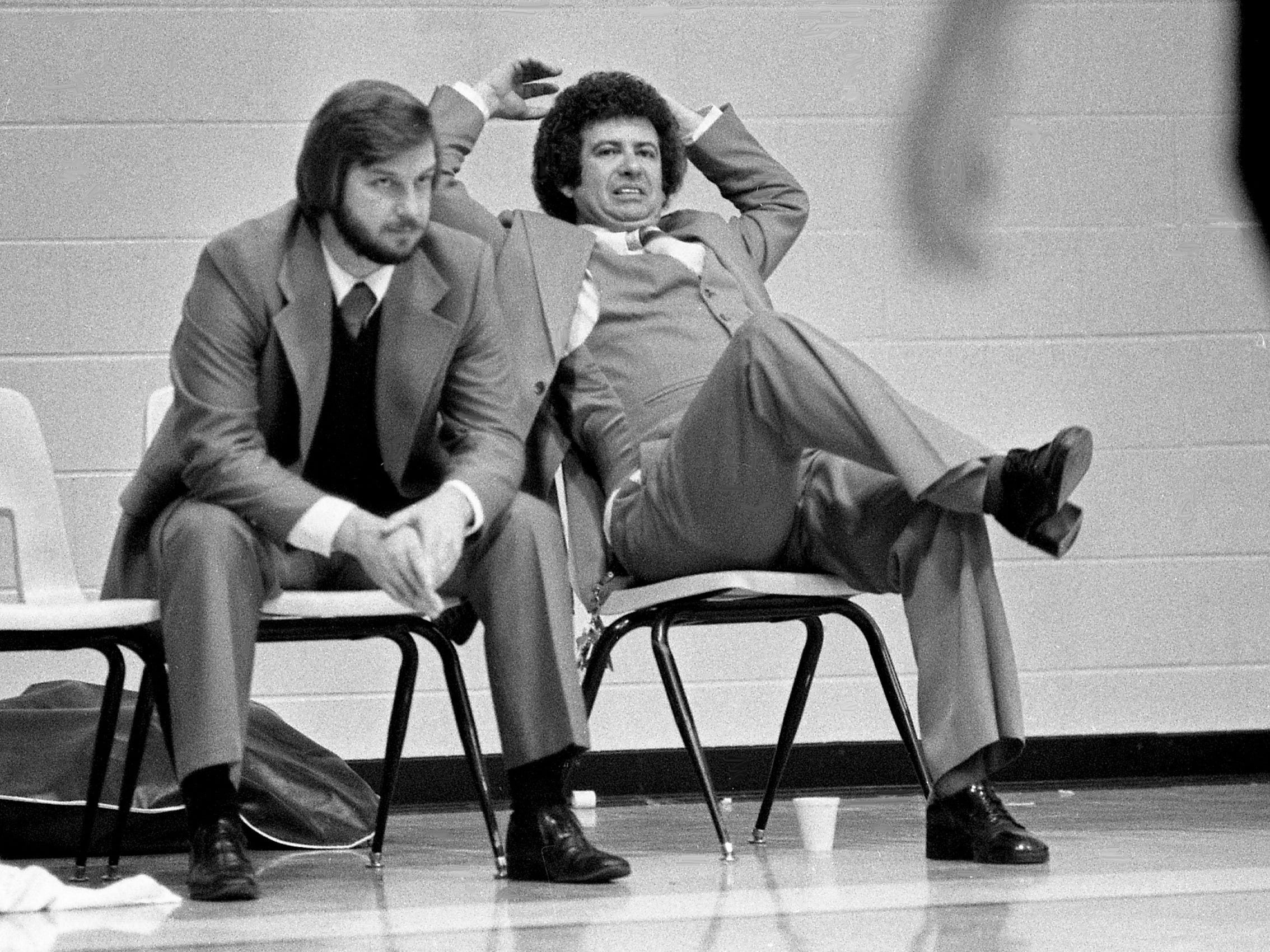 Lebanon High Blue Devilettes head coach Campbell Brandon, right, shows the closest of their 30-28 victory over Mt. Juliet High on the road Jan. 16, 1979.