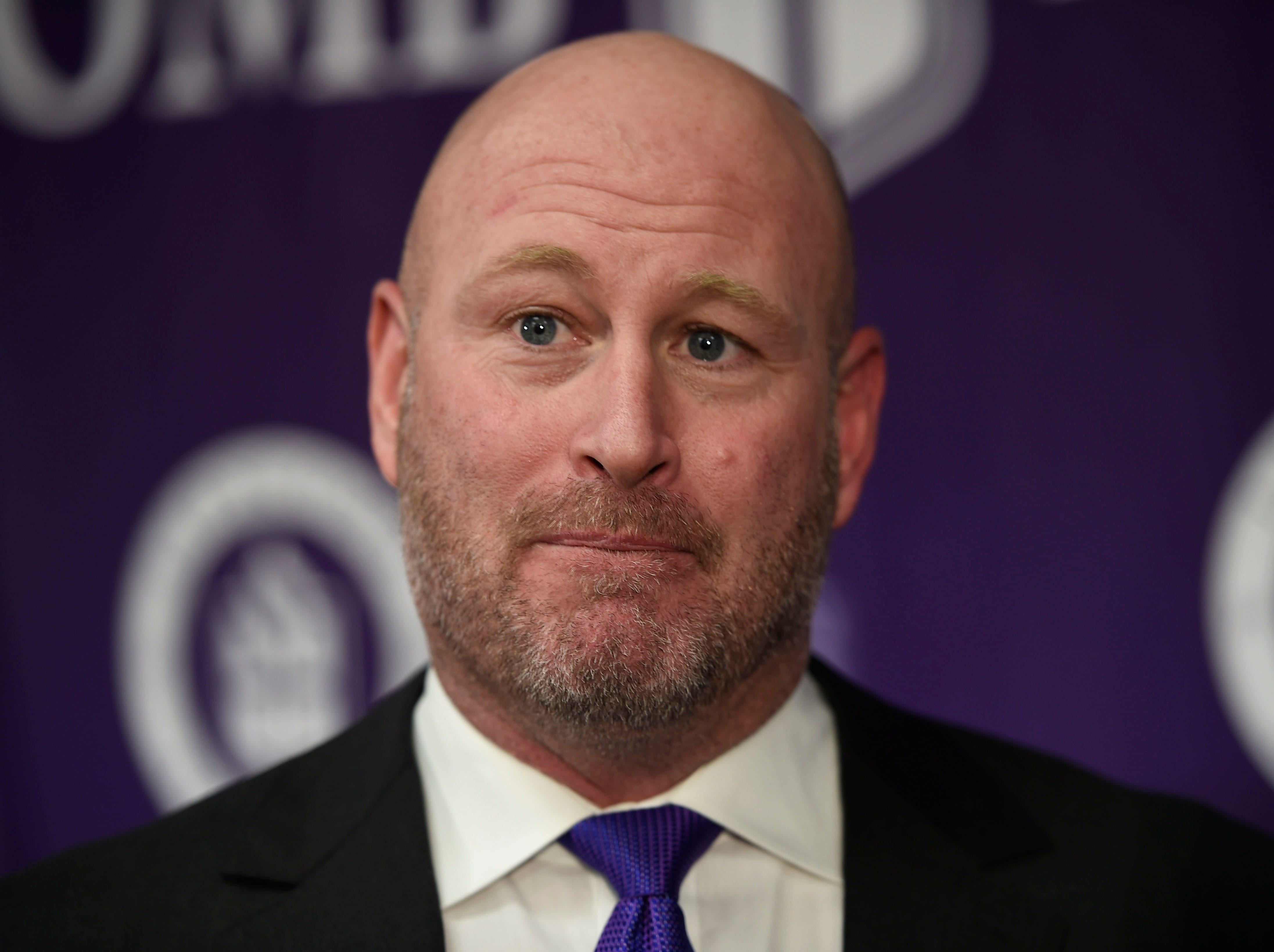 Trent Dilfer, the new football coach for Lipscomb Academy, speaks with media following the press conference on Friday.