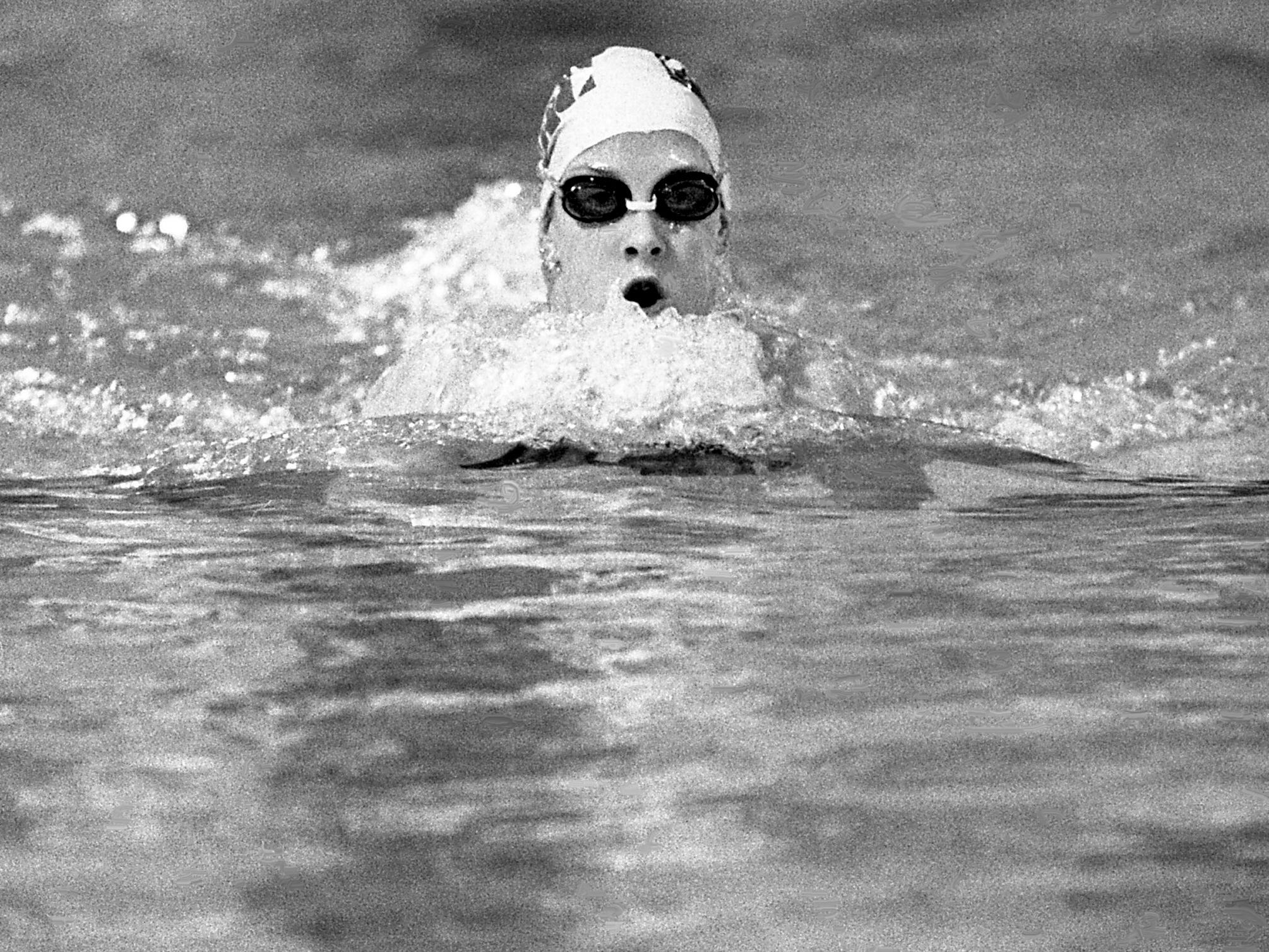 Swimming sensation Tracy Caulkins of the Nashville Aquatic Club is competing in one of the breaststroke events during the NAC's second annual International Invitational swimming meet at the club's pool Jan. 12, 1979.