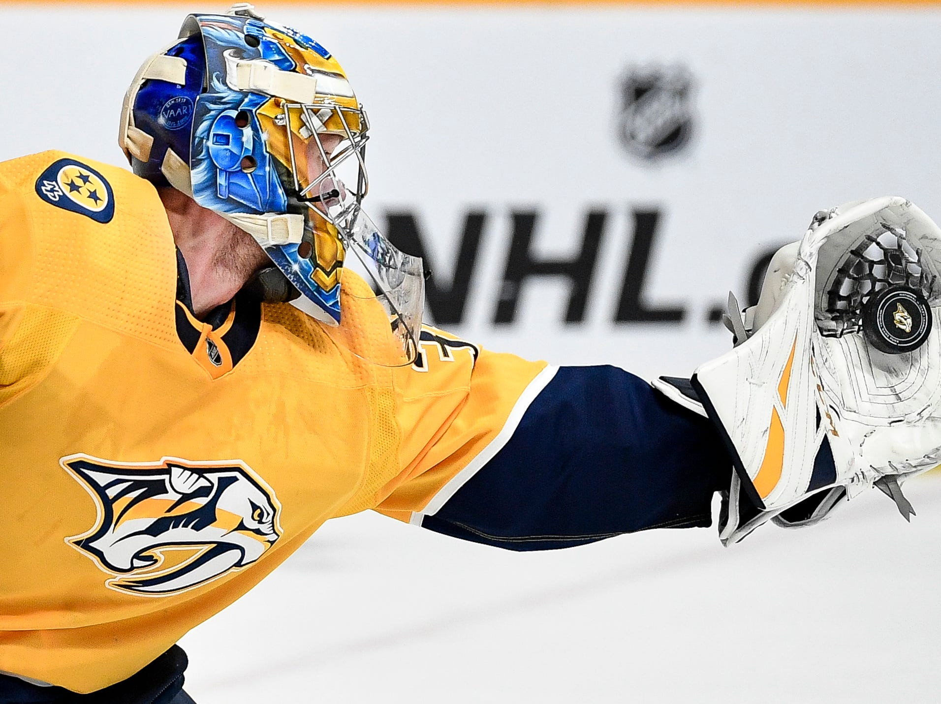 Nashville Predators goaltender Pekka Rinne (35) makes a save against the Winnipeg Jets during the second period at Bridgestone Arena in Nashville, Tenn., Thursday, Jan. 17, 2019.