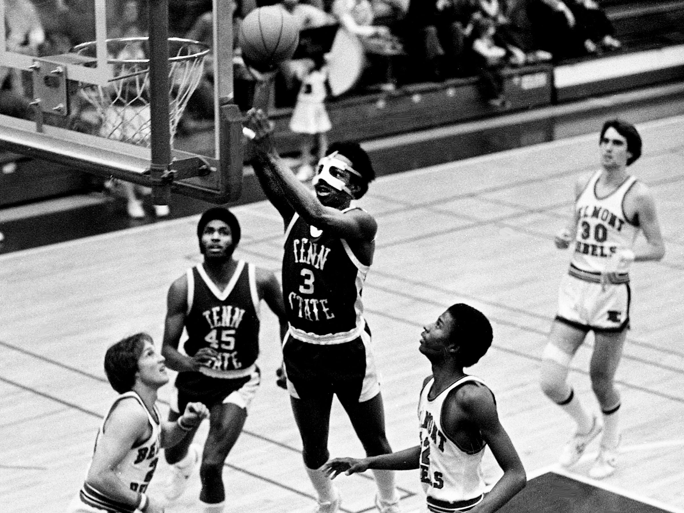 Tennessee State guard Kenneth Offutt (3) goes up for two of his 12 points in their 98-71 victory over the outmatched Belmont College on the road Jan. 25, 1979.