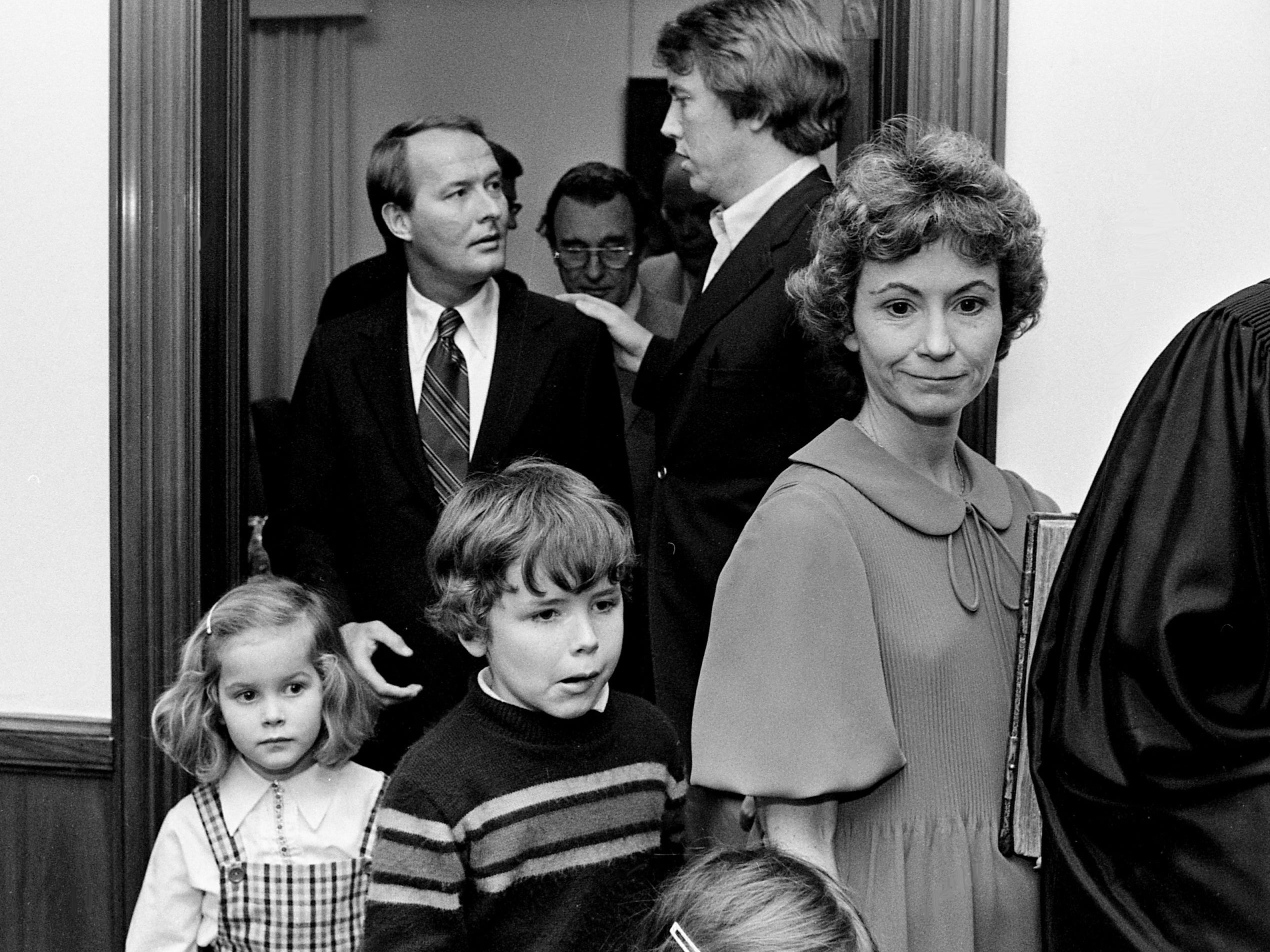 Gov.-elected Lamar Alexander, with wife Honey and children, Leslee, 6, Drew, 8, and Kathryn, 4, heads to be sworn in as the governor of Tennessee four days earlier on Jan. 17, 1979, after a federal prosecutor warned state leaders that Gov. Ray Blanton might free more convicts involved in a pay-for-freedom investigation.