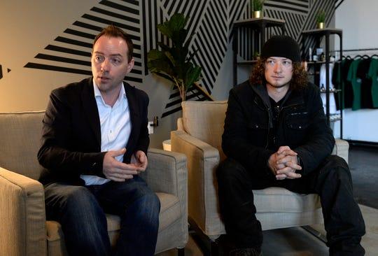 Joshua Camp and Matt Chapman of LabCanna talk about their hemp and CBD company on Jan. 16 in Nashville.