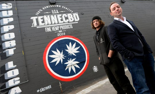 Chief of Operations Matt Chapman and CEO Joshua Camp of LabCanna outside their hemp and CBD company in Nashville.