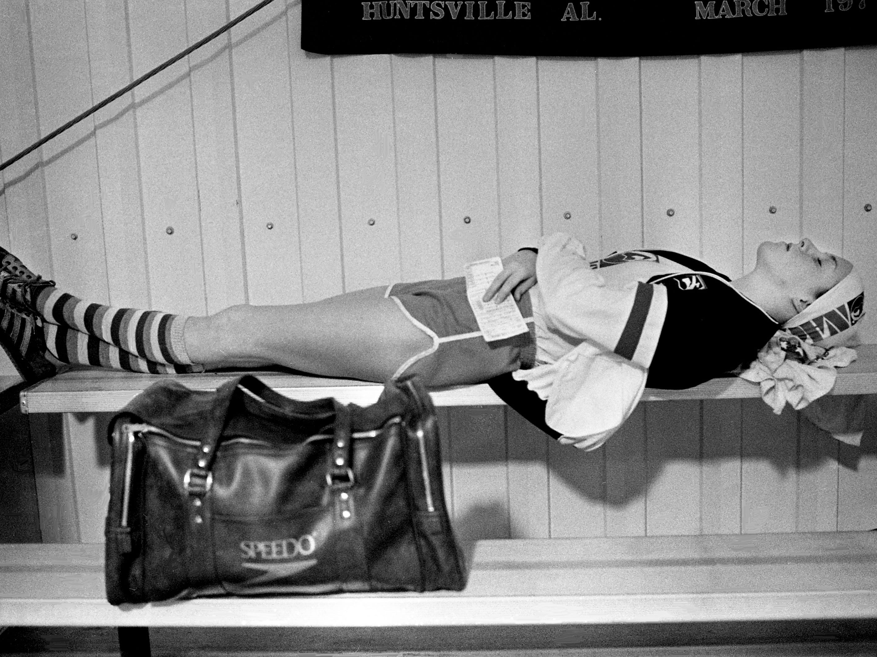 Swimming sensation Tracy Caulkins of the Nashville Aquatic Club takes a nap before the start of the NAC's second annual International Invitational swimming meet at the club's pool Jan. 12, 1979.