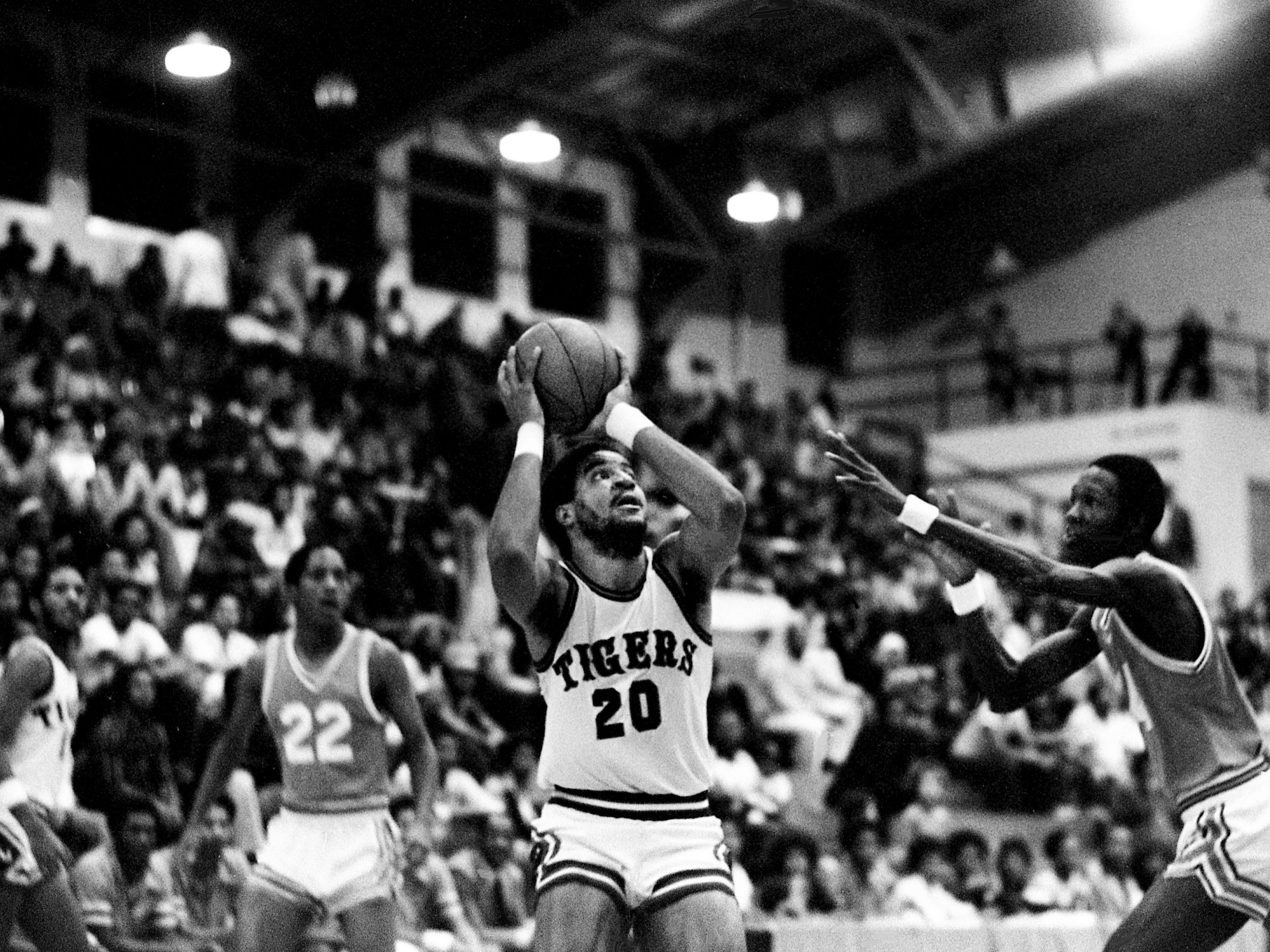 Tennessee State's James Tucker (20) is set to shoot in their 92-88 victory over LeMayne-Owen at home Jan. 13, 1979, in Kean's Little Garden. Tucker scored 16 points and grabbed 10 rebounds.