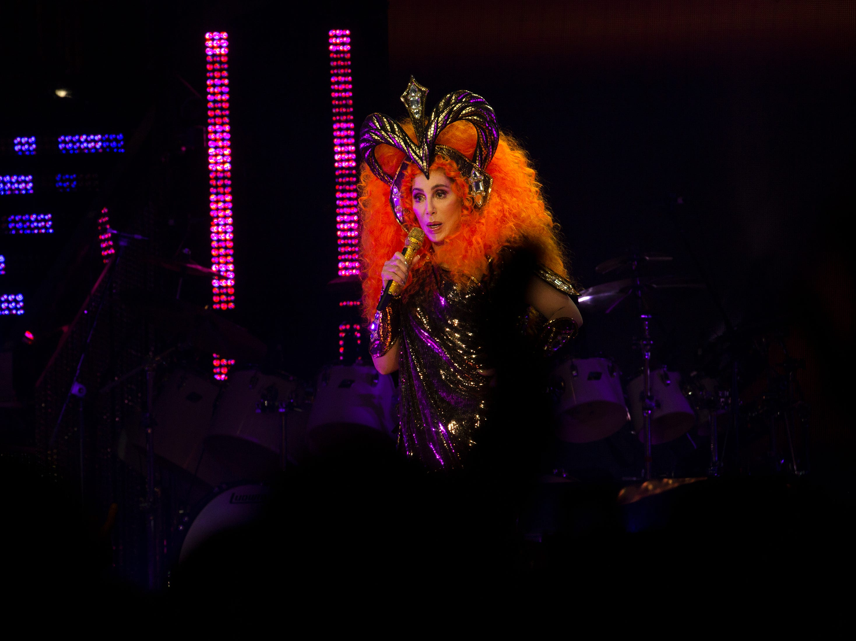 Cher performs in concert during the 'Here We Go Again' tour, Thursday, Jan. 17, 2019, at Hertz Arena in Estero.