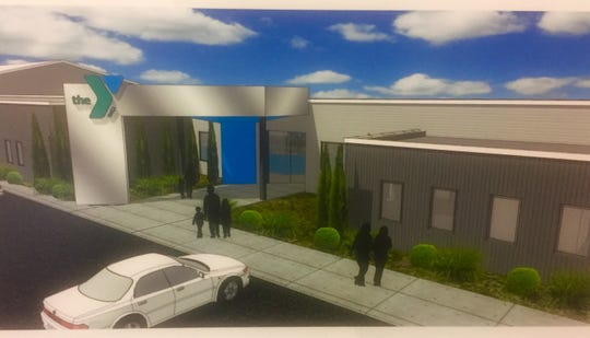 A conceptual sketch of the new YMCA entryway that is part of the phase one improvements to be completed over the next nine months.