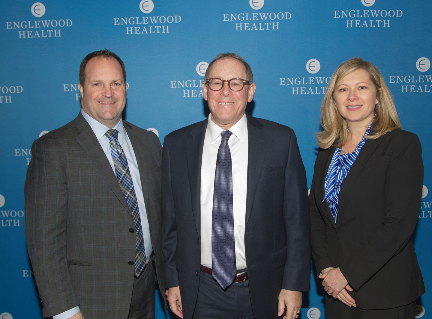 Harvey Weber, Thomas C. Senter, Esq., Chairman of the Englewood Healthcare System and Englewood Hospital and Medical Center, Vicki Hoffman. Englewood Health held its annual Medical Staff Recognition Dinner at Rockliegh Country Club. 01/17/2019