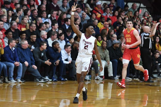 Bergen Catholic basketball at Don Bosco in Ramsey on Thursday, January 17, 2019. DB #21 Myles Ruth celebrates after scoring a three-pointer in the first quarter.