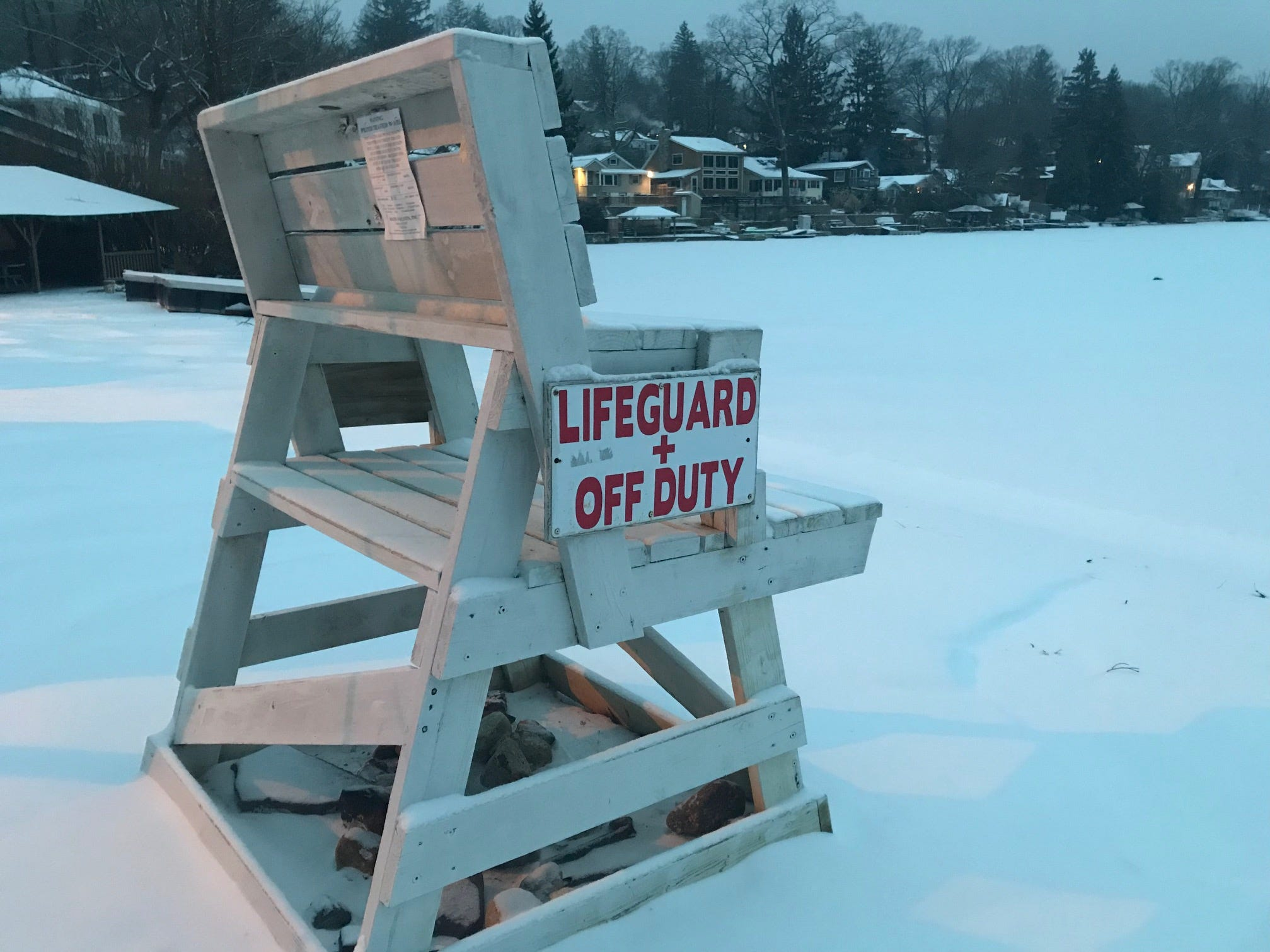 Lifeguard stand at Lindy's Lake Beach West Milford promises better weather to come. Photo taken Friday morning.