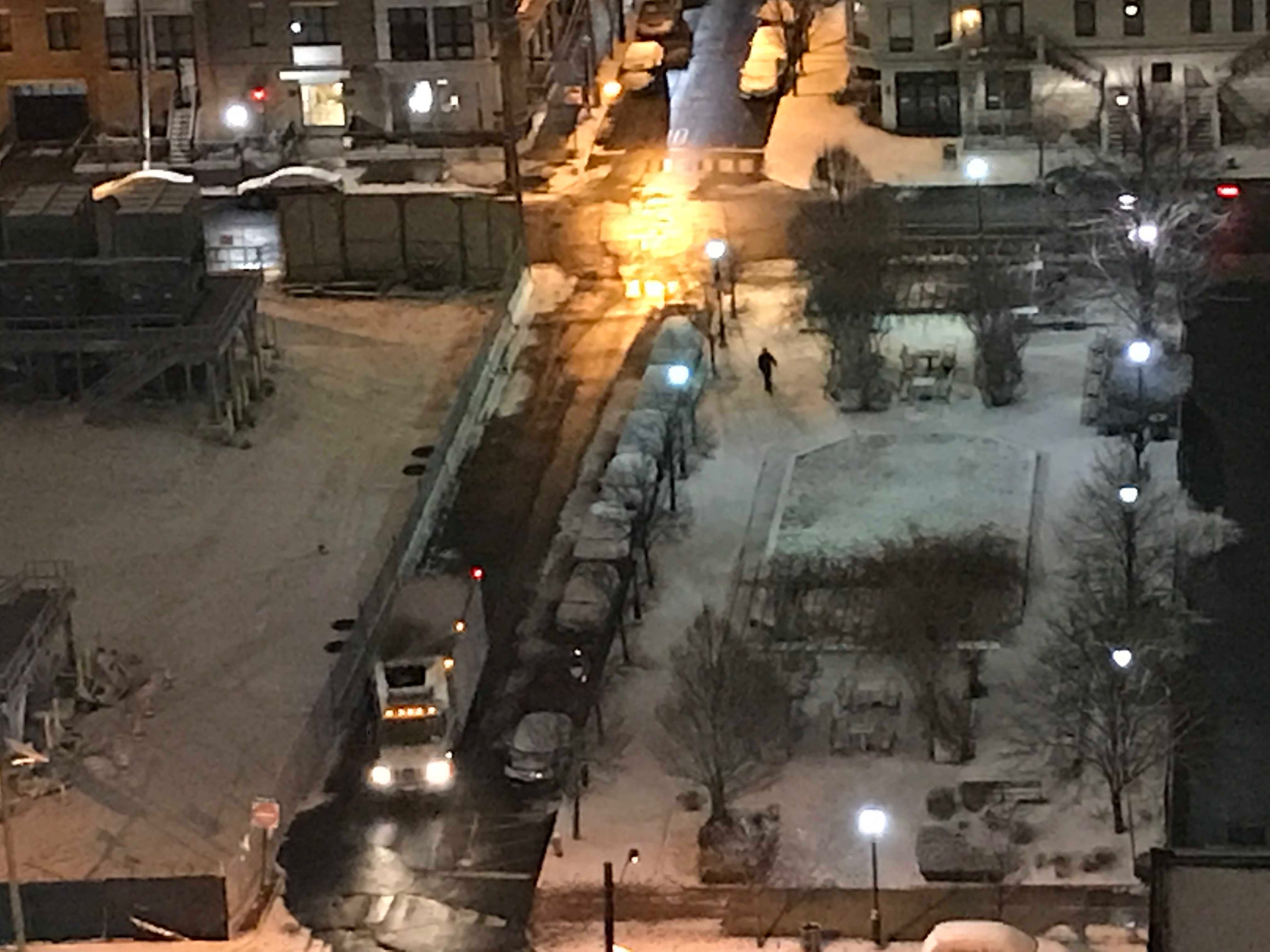 A truck makes its way down 11th Street in Hoboken at 5:45 a.m. Friday. There was little to no snow accumulation on the streets in the northwestern corner of the city.