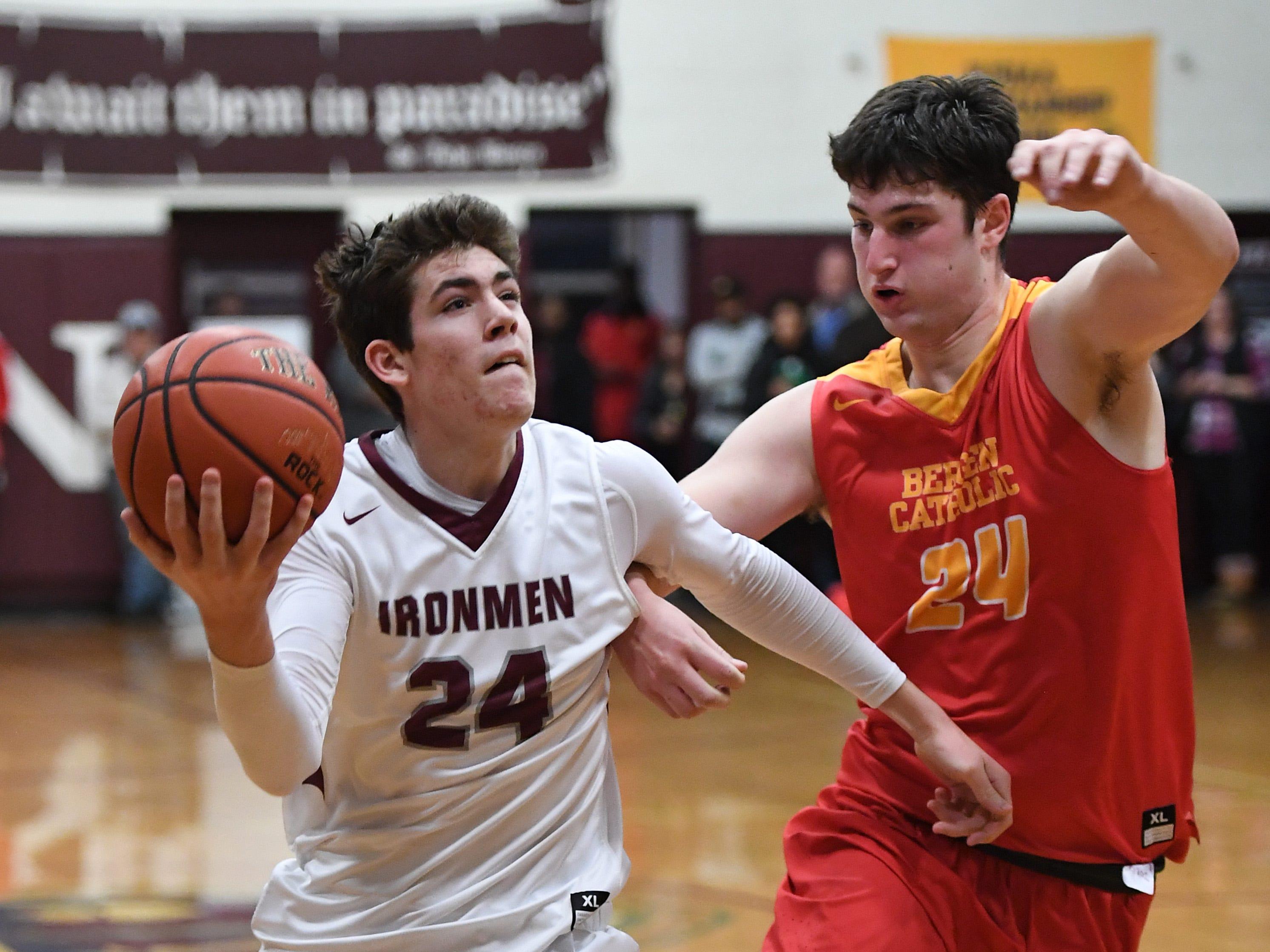Don Bosco's Brendan Mykalcio drives to the basket as Matt Zona defends.