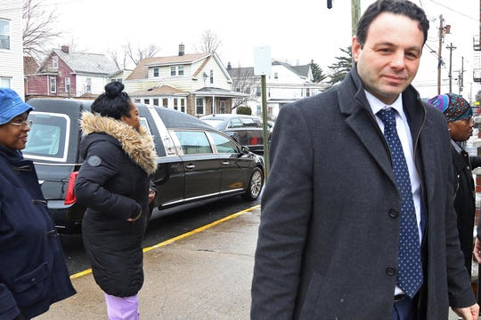 Paterson Mayor Andre Sayegh arrives at the Canaan Baptist Church for the funeral Mass for Jameek Lowery who died in police custody. The Mass is held on January 18, 2019 in Paterson.