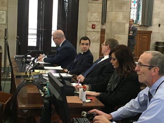 Gov. Phil Murphy's chief counsel, Matt Platkin, before testifying Friday, Jan. 18, 2019
