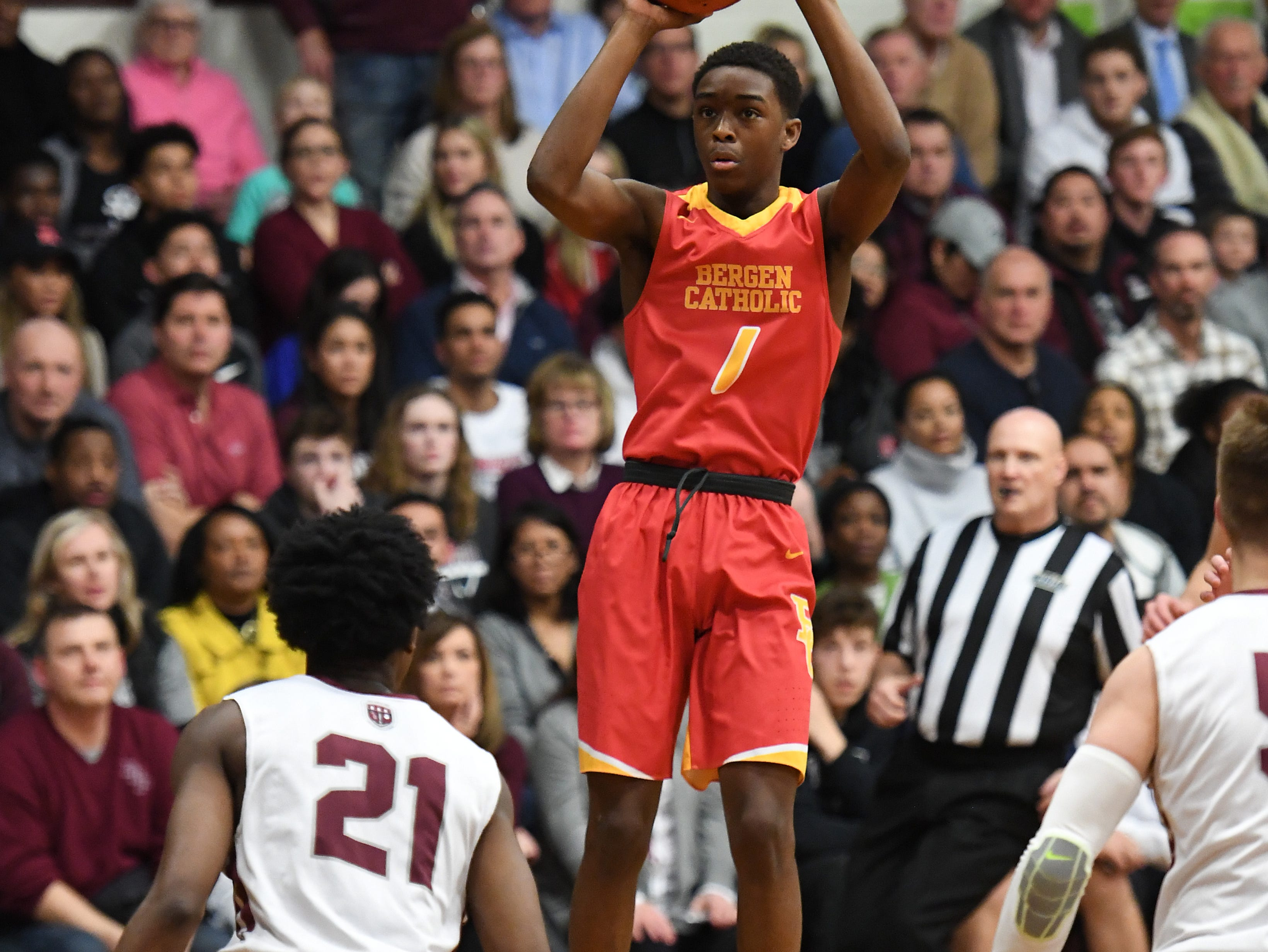 Bergen Catholic basketball at Don Bosco in Ramsey on Thursday, January 17, 2019. BC #1 Will Richardson takes a shot.