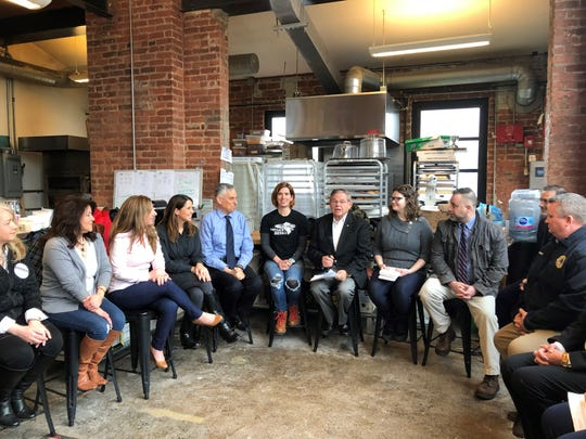 NJ Federal workers who are going without pay during the government shutdown with Sen. Bob Menendez at Montclair Bread Co. Friday, January 18, 2019.