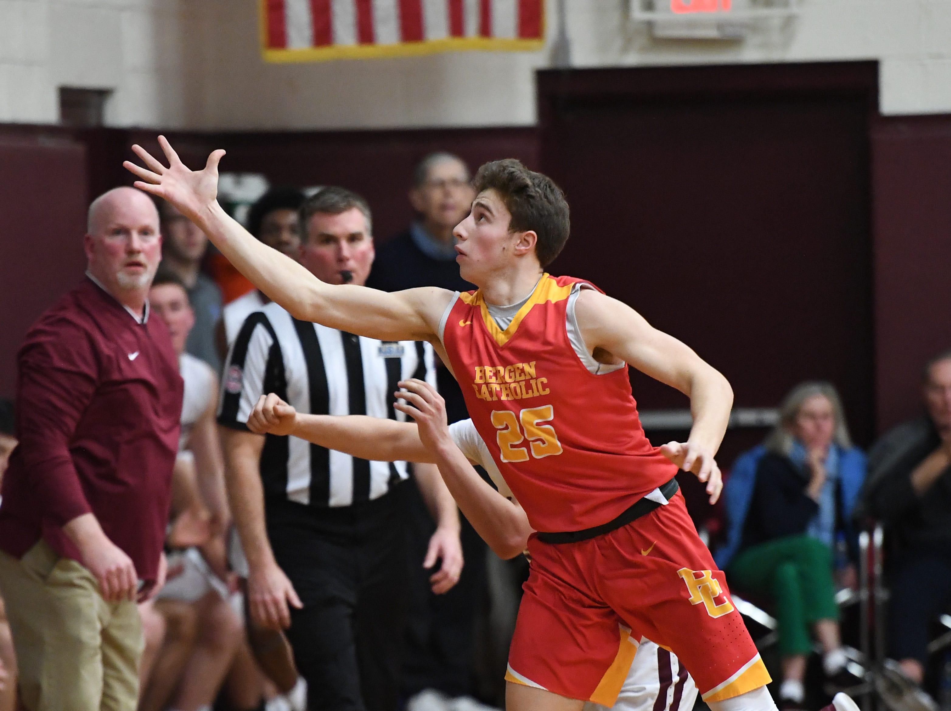 Bergen Catholic basketball at Don Bosco in Ramsey on Thursday, January 17, 2019. BC #25 Doug Edert reaches for a loose ball.