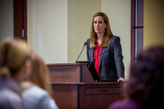 Rep. Mikie Sherrill, a Democrat representing Congressional District 11, spoke to furloughed government employees about the government shutdown at Montclair State University.