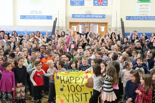 Students at Lincoln Elementary School in Wyckoff surround singer Jessie Chris Jan. 17, 2019 when she visited to talk about bullying.
