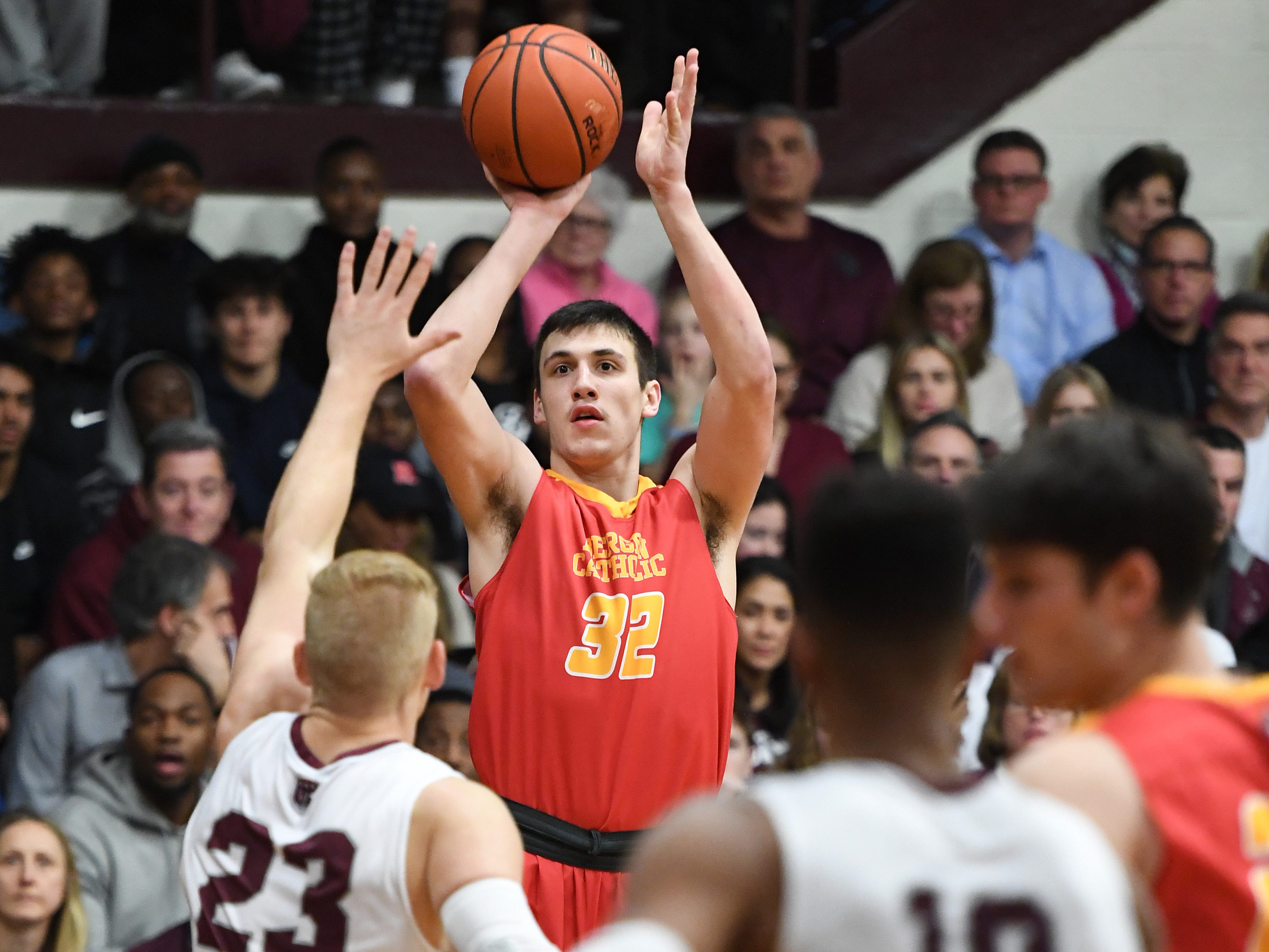 Bergen Catholic basketball at Don Bosco in Ramsey on Thursday, January 17, 2019. BC #32 Zach Freemantle takes a shot.