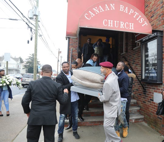 The casket carrying Jameek Lowery is taken out of the Canaan Baptist Church following a funeral Mass on January 18, 2018 in Paterson. Jameek Lowery died Jan. 7 after being taken from police headquarters to St. Joseph's Medical Center. Authorities have not yet released an autopsy revealing the cause of his death.