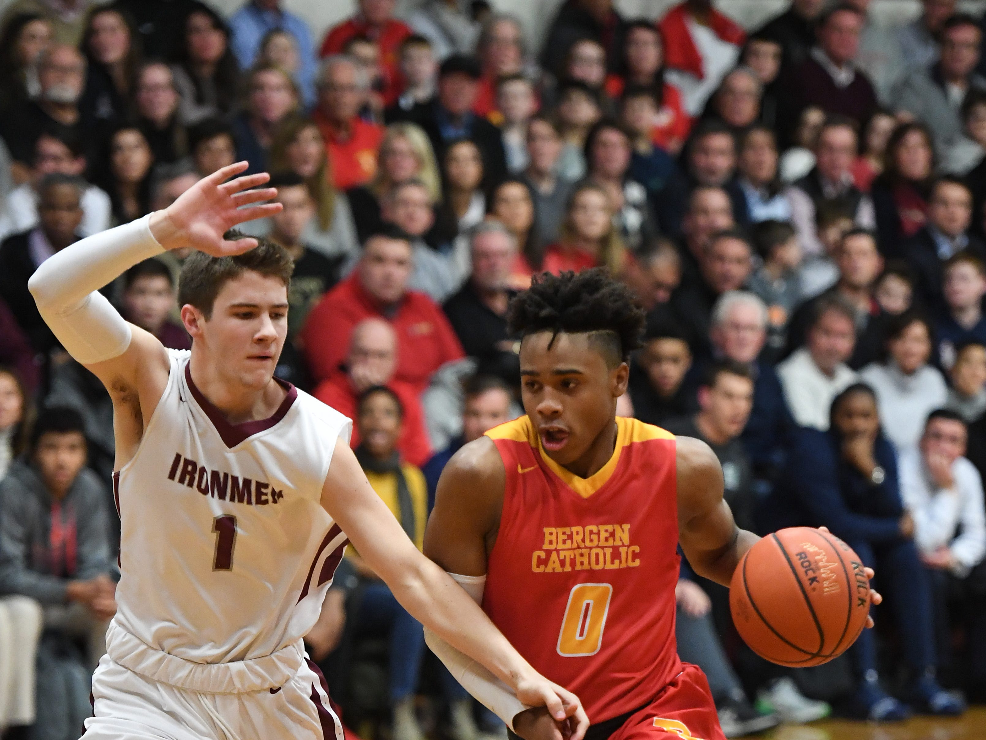 Bergen Catholic basketball at Don Bosco in Ramsey on Thursday, January 17, 2019. BC #0 Jayson Earl tries to get past DB #1 Kyle Maurer.