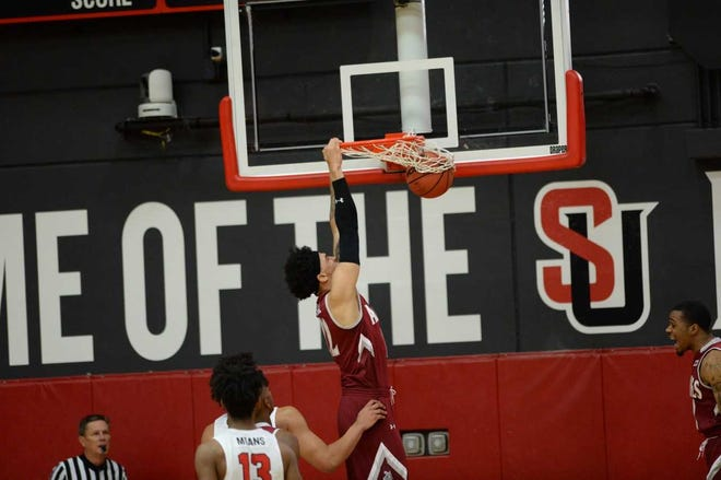Eli Chuha scored a team high 13 points in the NM State Aggies' 87-60 victory Thursday, Jan. 17, 2019, at Seattle.