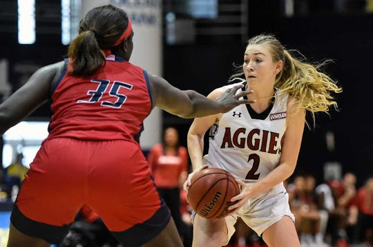 Brooke Salas recorded a double-double, 21 points and 11 rebounds, in a 75-55 NM State victory over Seattle on Thursday, Jan. 17, 2019, at the Pan American Center.