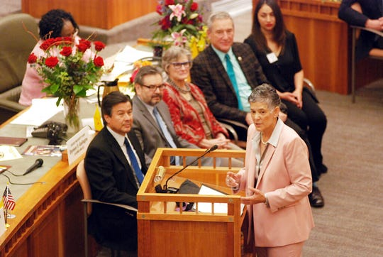 Supreme Court Chief Justice Judith Nakamura, right, delivers the annual State of the Judiciary address to the New Mexico Legislature in Santa Fe, N.M., on Thursday, Jan. 17, 2019. Nakamura is defending state courts against criticisms of pre-trial release programs and is calling on lawmakers to pass bills that could streamline the court system and fund more employee training.