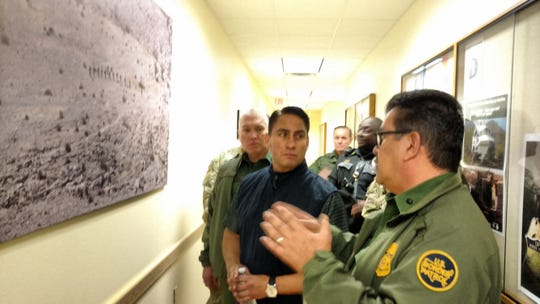 New Mexico Lt. Gov. Howie Morales meets with Border Patrol agents Jan. 18, 2019, during a trip to Lordsburg, New Mexico. Morales was gathering information for Gov. Michelle Lujan Grisham, who was deciding whether to keep National Guard troops at the border.