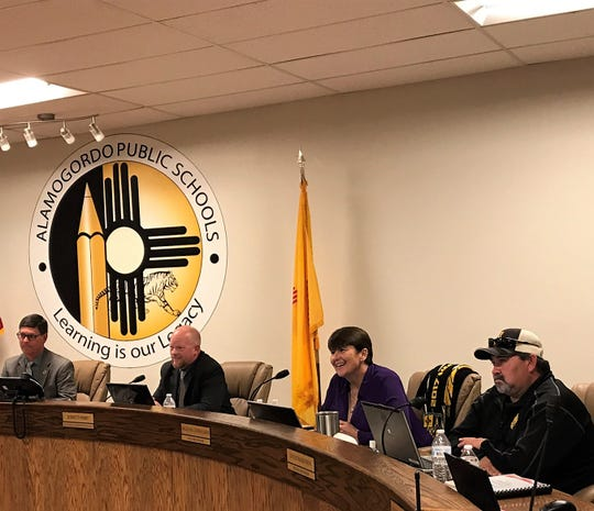 Alamogordo Public Schools Board of Education President Timothy Wolfe, APS Superintendent Jerrett Perry, APS Board Vice President Angela Cadwallader and APS School Board Member David Borunda listen to public comment at their regular meeting Tuesday, Jan. 16.