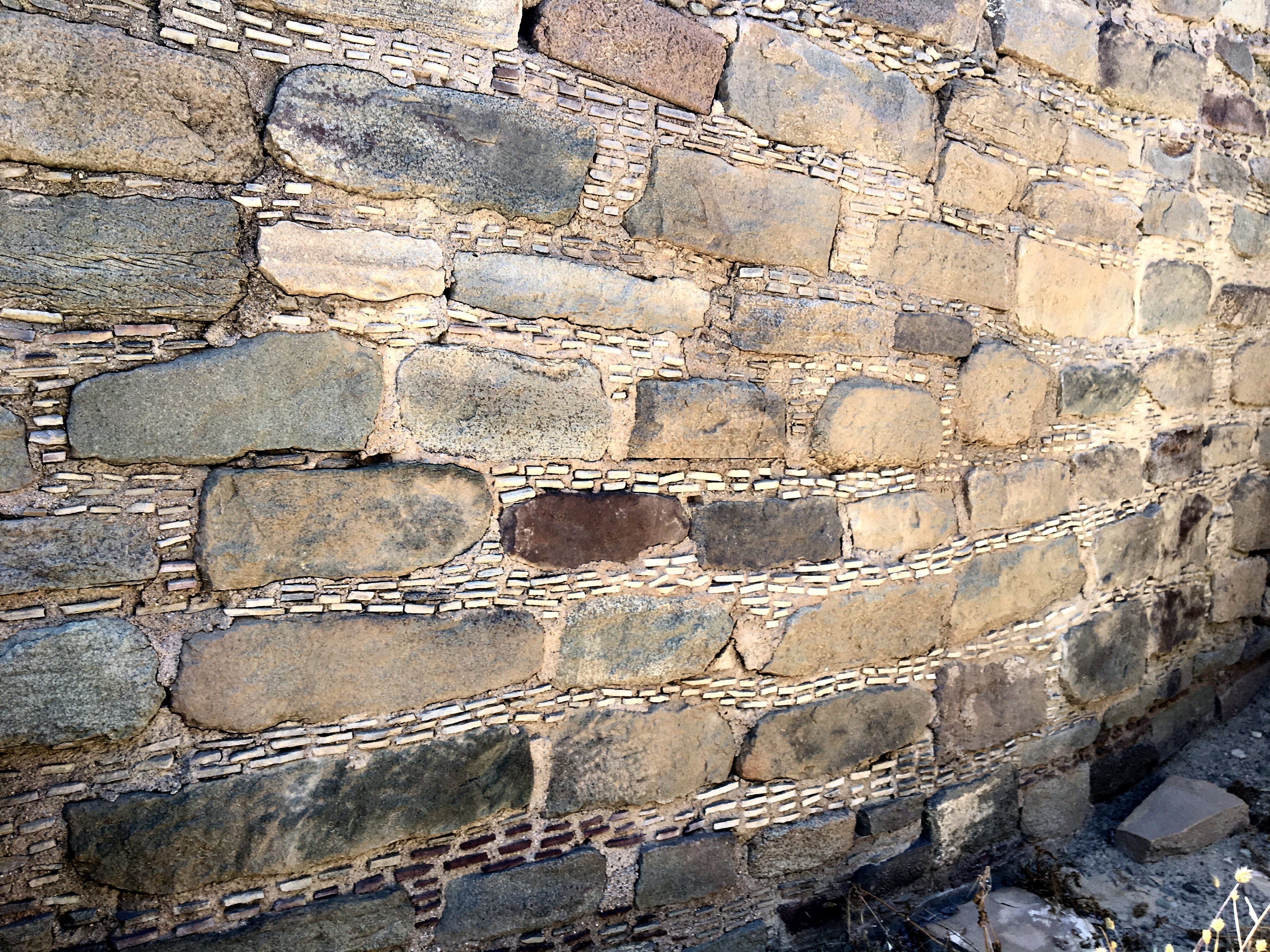 The unplastered walls in the Salmon Ruins complex show construction details left by highly-skilled stoneworkers.