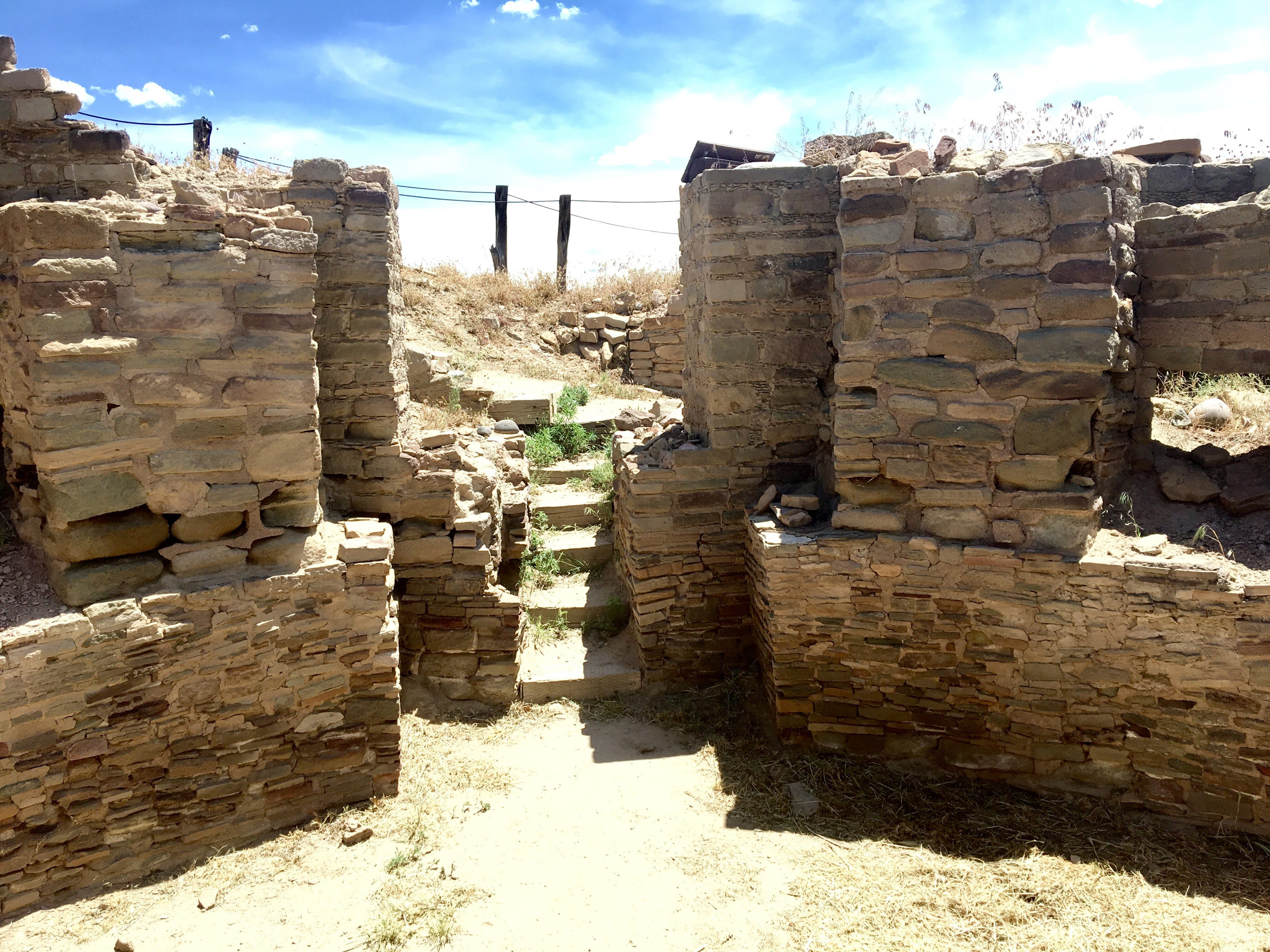 The Salmon Ruins in Bloomfield is among the most accessible pre-colonial Native American sites in New Mexico. The partially-excavated but unimproved site was built starting in 1088 and is an example of an Anasazi ancestral Pueblo. About 300 people lived there until 1288, when evidence indicates it was abandoned. The site contains a museum and the remains of the Salmon family homestead.