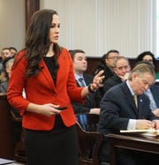 Prosecuting attorney  Barbara Lanning begins to sum up the case against three defendants on Jan. 18 in the Dearborn Heights courtroom of Judge Mark Plawecki in the manslaughter death of William Marshall in 2017 in a Westland Jail.