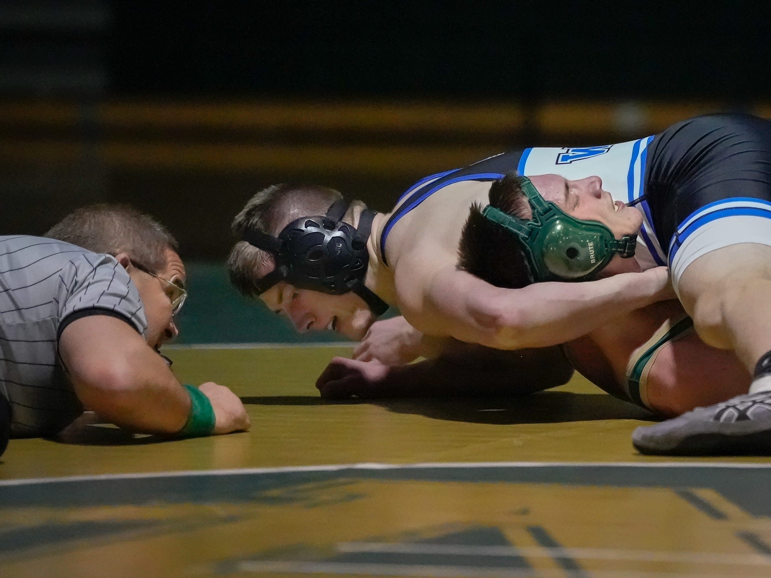Jeremiah Chmielewski of Oshkosh North and Blake Framke of Oshkosh West wrestle in the 182-pound weight class. The Oshkosh North Spartans hosted the Oshkosh West Wildcats in a Fox Valley Association wrestling match Thursday evening, January 17, 2019.