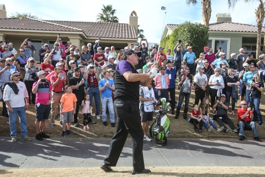 Phil Mickelson takes a drop after his tee shot off 18 on the Nicklaus Tournament Course at PGA West in La Quinta during the 2nd round of the Desert Classic on Friday, January 18, 2019. He took two drops on 18 but finished his day 16 under so far for the tournament.