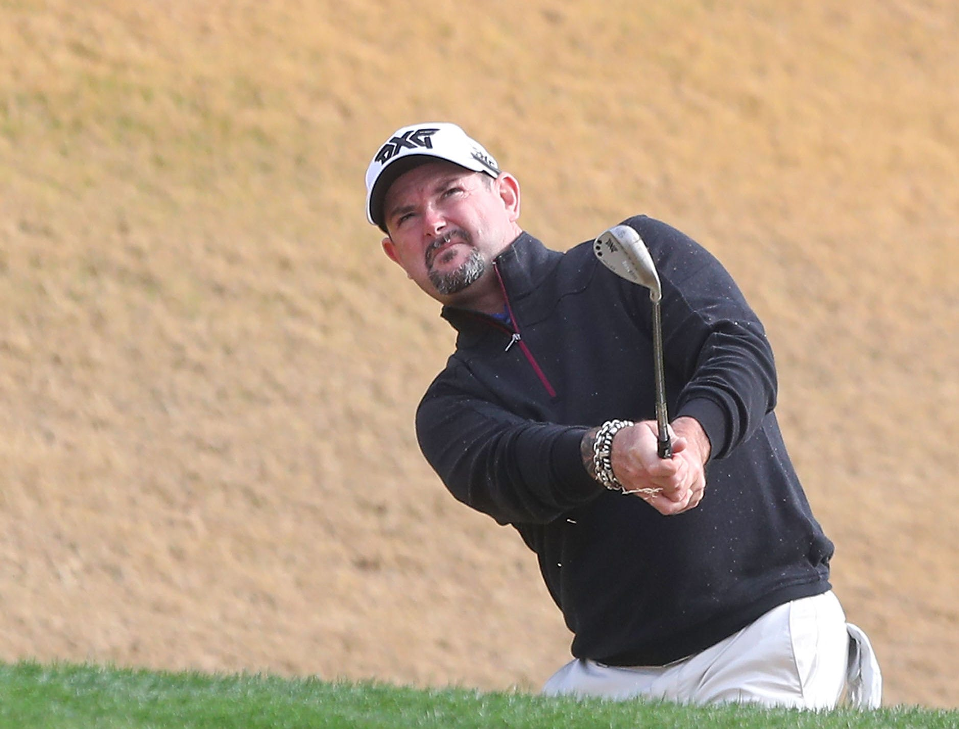 Rory Sabbatini hits a shot from just off the sixth green at the Nicklaus Tournament Course at PGA West, January 17, 2019.