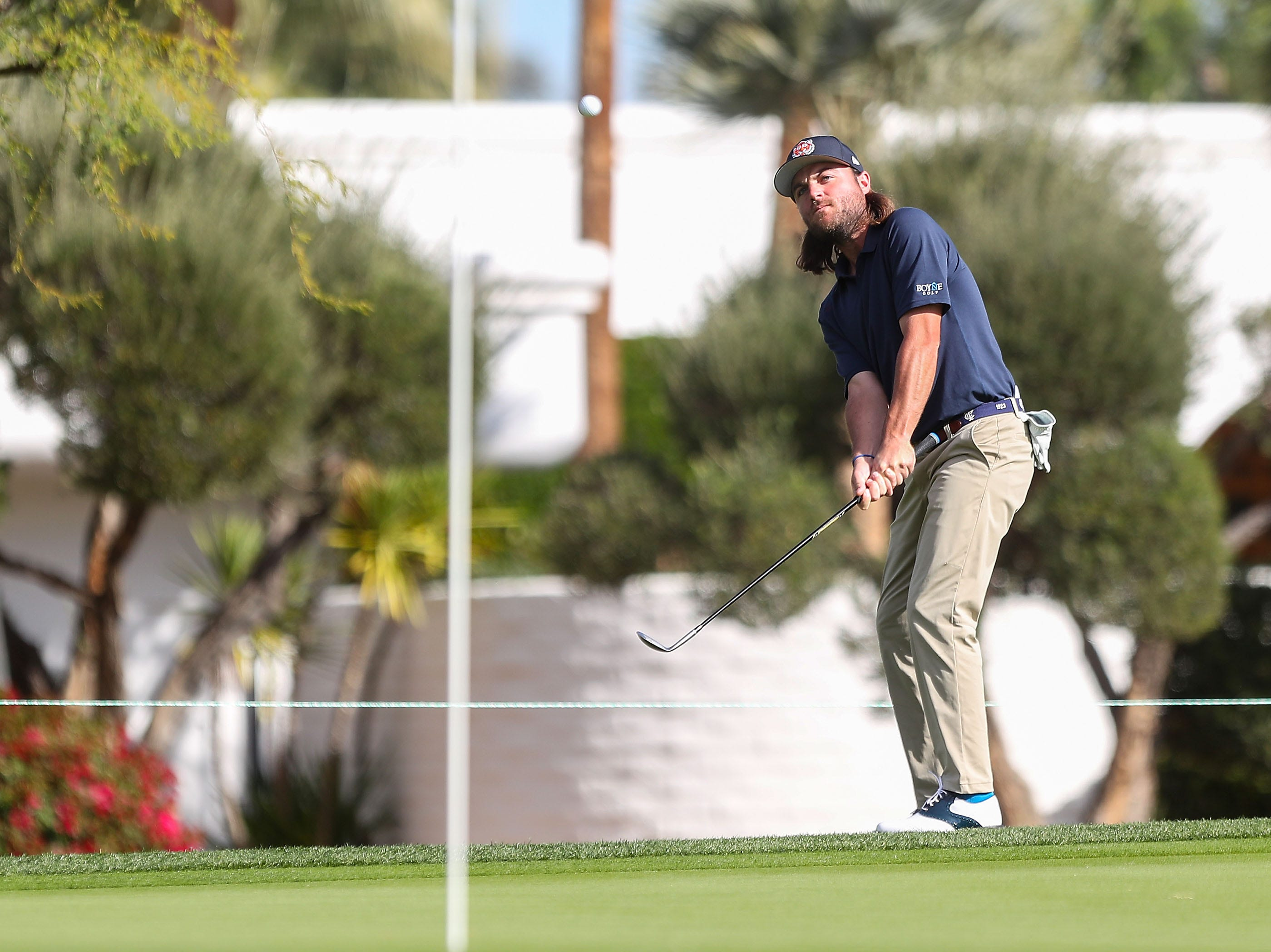 Joey Garber hits his third shot on the 10th hole at La Quinta Country Club during the Desert Classic, January 18, 2019.