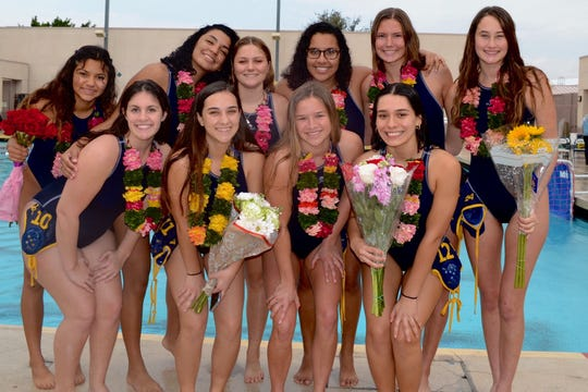 This talented senior group has led a La Quinta girls' water polo team that won the Desert Empire League and is ranked No. 1. From left to right: (Front row) Ariel Carter, Adrean Bresani, Savannah Hampton, Emely Torres, (Back row) Ariana Alvarez, Ashley Peza, Lauren Olivier, Anette Cruz, Rachel Sherman and Mikka Von Scherr.