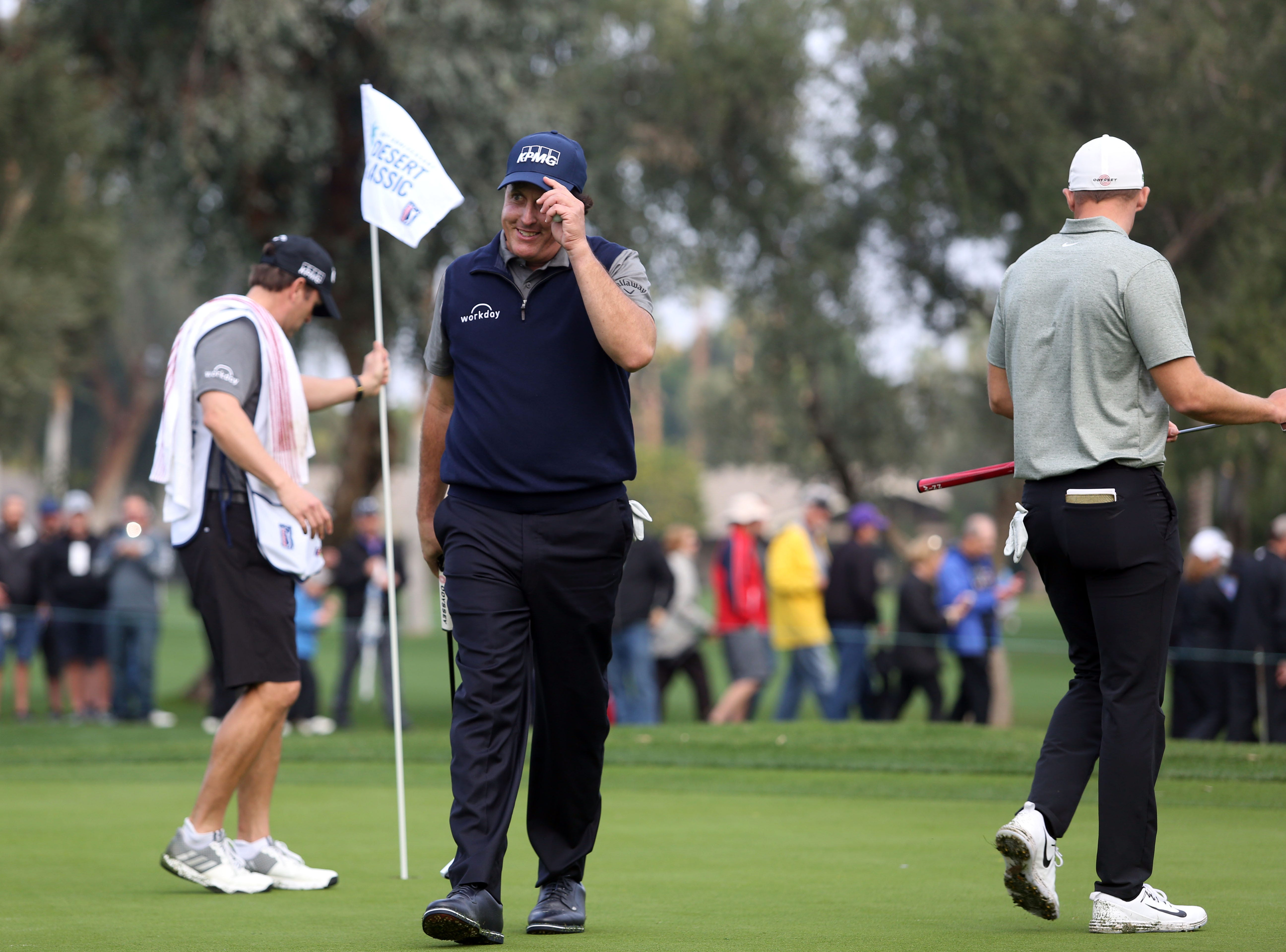 Phil Mickelson tips his cap after he birdies 1 at La Quinta County Club during the 1st round of the Desert Classic on Thursday, January 17, 2019. Mickelson leads at the end of the day with 12 under.